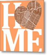 Houston Street Map Home Heart - Houston Texas Road Map In A Hear Metal Print