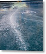 Ice Pattern On Frozen Abraham Lake Metal Print