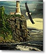 Lighthouse  Eagle Metal Print