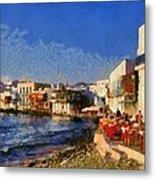 Little Venice In Mykonos Island Metal Print