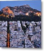 Lycabettus Hill During Dusk Time Metal Print