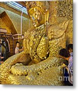 4 M Tall Sitting Buddha With Thick Layer Of Golden Leaves In Mahamuni Pagoda Mandalay Myanmar Metal Print