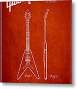 Mccarty Gibson Electric Guitar Patent Drawing From 1958 - Red Metal Print