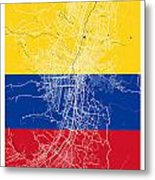 Medellin Street Map - Medellin Colombia Road Map Art On Colored  Metal Print