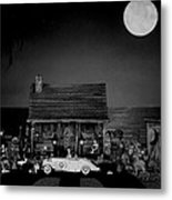 Miniature B/w Log Cabin  Scene With The Classic 1936 Mercedes Benz Special Roadster  Metal Print by Leslie Crotty