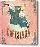 Modern Vintage Louisiana State Map  Metal Print