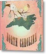 Modern Vintage North Carolina State Map  Metal Print