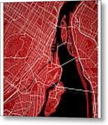 Montreal Street Map - Montreal Canada Road Map Art On Colored Ba Metal Print