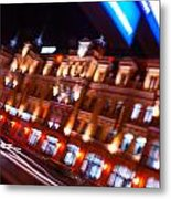 Moving Fast In The Town At Night  Metal Print