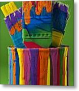 Multicolored Paint Can With Brushes Metal Print