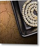 Natural Pearls Necklace Metal Print