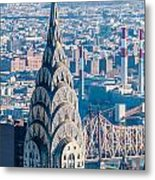 New York City Manhattan Midtown Aerial Panorama View With Skyscr Metal Print