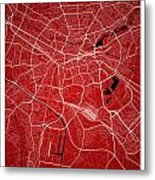 Nuremberg Street Map - Nuremberg Germany Road Map Art On Colored Metal Print