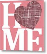 Orlando Street Map Home Heart - Orlando Florida Road Map In A He Metal Print