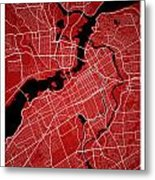 Ottawa Street Map - Ottawa Canada Road Map Art On Colored Backgr Metal Print