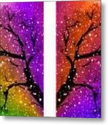 4-panel Snow On The Colorful Cherry Blossom Trees Metal Print