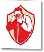 Photographer Shooting Camera Shield Retro Metal Print