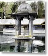 Premises Of The Hindu Temple At Mattan With A Water Pond Metal Print