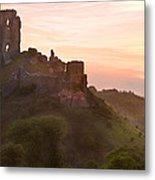 Romantic Fantasy Magical Castle Ruins Against Stunning Vibrant S Metal Print