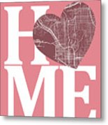 San Diego Street Map Home Heart - San Diego California Road Map  Metal Print
