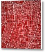 Santiago Street Map - Santiago Chile Road Map Art On Colored Bac Metal Print