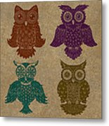 4 Sophisticated Owls Colored Metal Print by Kyle Wood
