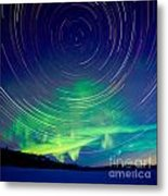Star Trails And Northern Lights In Night Sky Metal Print