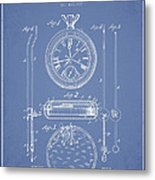 Stopwatch Patent Drawing From 1889 Metal Print