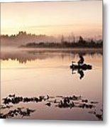 Sunrise In Fog Lake Cassidy With Fishermen In Small Fishing Boat Metal Print