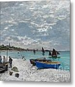 The Beach At Sainte-adresse Metal Print