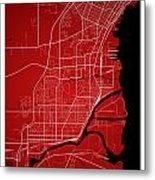 Thunder Bay Street Map - Thunder Bay Canada Road Map Art On Colo Metal Print