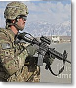 U.s. Army Specialist Provides Security Metal Print