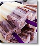 Vanilla And Blueberry Popsicles Metal Print by Teri Virbickis