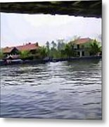 View Of Lake Resort Framed From The Top Of A Houseboat Metal Print