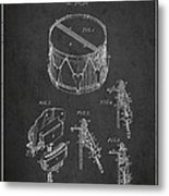 Vintage Snare Drum Patent Drawing From 1889 - Dark Metal Print