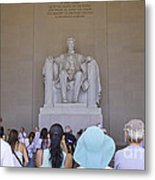 Visitors At The Lincoln Memorial Metal Print