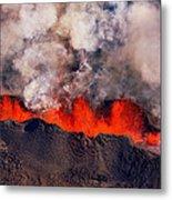 Volcano Eruption At The Holuhraun Metal Print