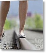 Walking On Railroad Tracks Metal Print