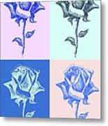 4 Warhol Roses By Punt Metal Print