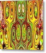 Woodcraft Ghosts Spirits Indian Native Aboriginal Masks Motif Symbol Emblem Ethnic Rituals Display H Metal Print