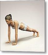 Yoga Plank Pose Metal Print