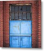 401 Blue Factory Door Metal Print