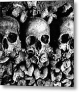 Skulls And Bones In The Catacombs Of Paris France Metal Print