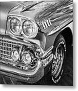 1958 Chevrolet Bel Air Impala Painted Bw  Metal Print