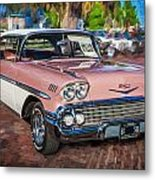 1958 Chevrolet Bel Air Impala Painted  Metal Print