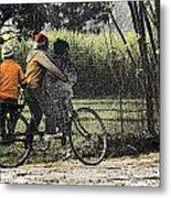 3 Young Children On A Cycle At The Side Of The Road Metal Print