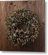 Advent Christmas Wreath Decoration Metal Print