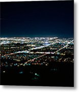 Aerial View Of A City Lit Up At Night Metal Print