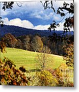 Autumn Hillside And Rain Clouds Metal Print