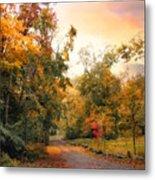Autumn's Sunset Path Metal Print
